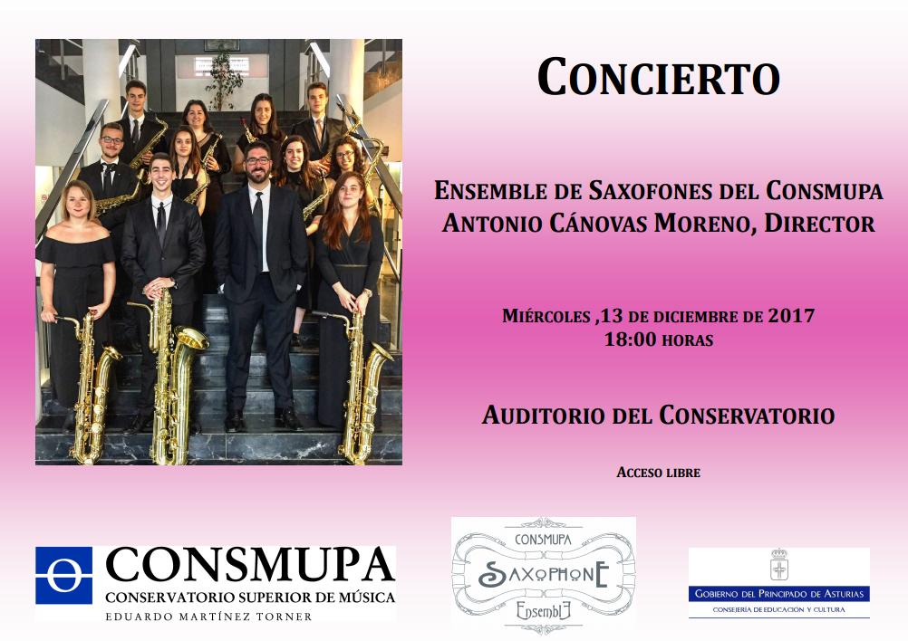 13th, December, 2017. Concert by CONSMUPA Saxophone Ensemble